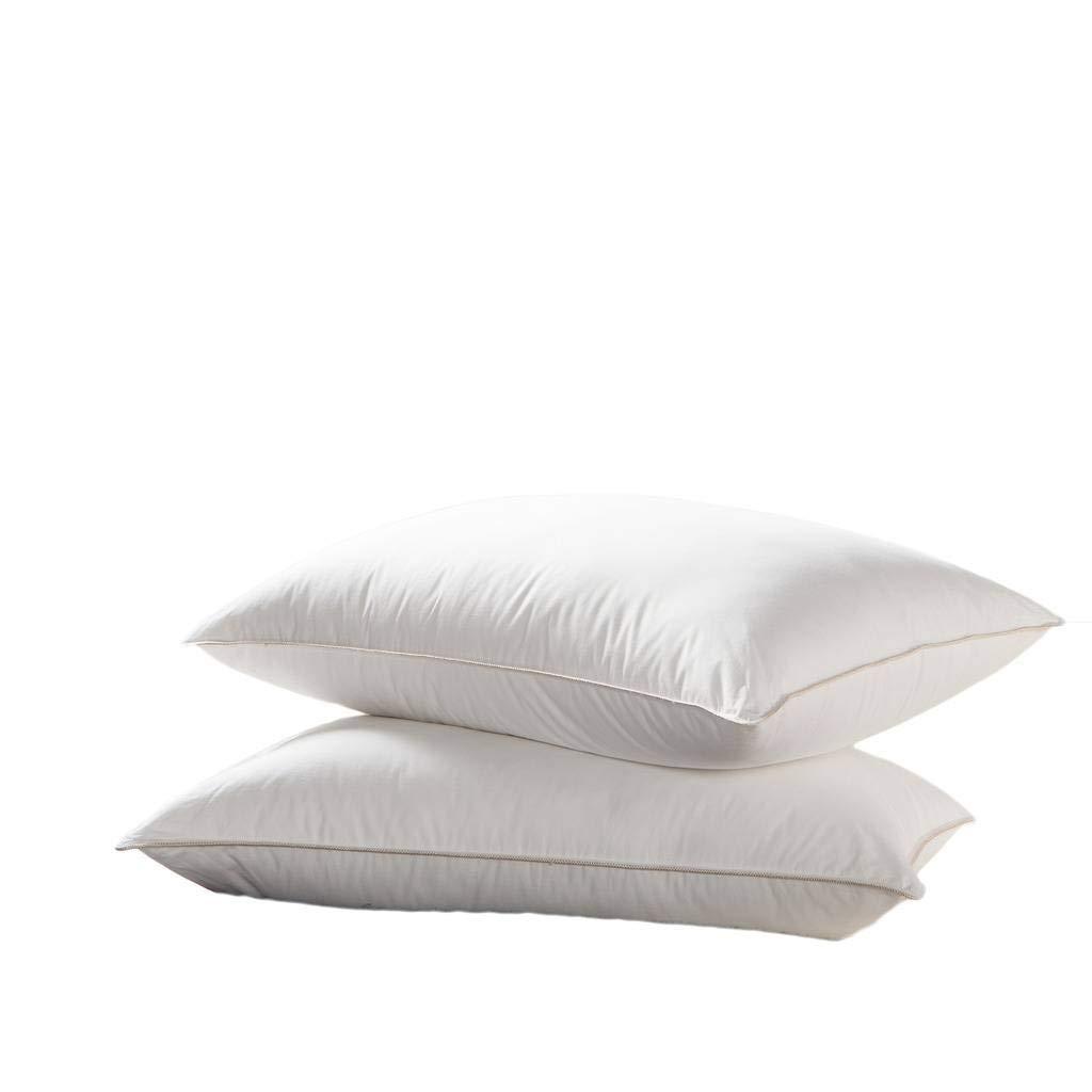 Egyptian Bedding Goose Down Pillow - 500 Thread Count Egyptian Cotton, Medium Firm, King Size, Set of 2