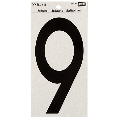 """Hyko Products Co 20404833 Numbering Reflective Vinyl 5"""" (#9) - Black On Silver"""