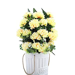 Artificial Flowers 4 Colors 52Cm 3Pcs 27 Heads Silk Gerbera Daisy Chrysanthemum Artificial Flowers for Cemetery Grave Wedding Home Party Decoration,Light Yellow 97