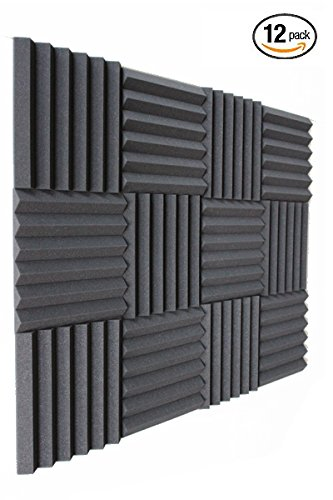 (12 Pk) 1''x12''x12'' Charcoal Slim Acoustic Foam Padding - Enhance Sound Quality by Absorbing Noise and Echoes (6-T) by IZO All Supply