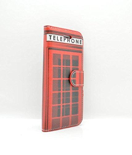iPhone 7cover case–Red Telephone box porta carte di custodia in pelle sintetica con vetro temperato e schermo- Oliviasphones per telefono