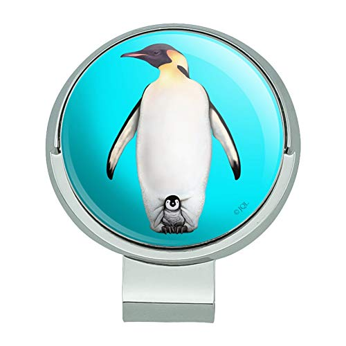 GRAPHICS & MORE Penguin and Baby Chick Nestling Golf Hat Clip with Magnetic Ball Marker