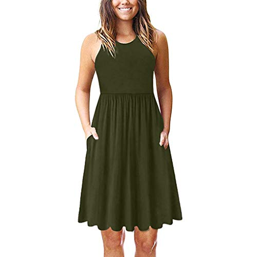 (Women's Casual Swing Simple T-Shirt Loose Dress with Pocket Green)