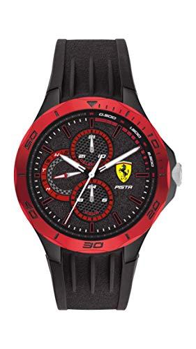 Scuderia Ferrari Men's Pista Quartz Watch with Silicone Strap, Black, 18 (Model: 0830721)