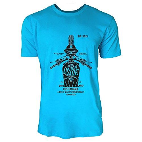 SINUS ART® Altes Vintage Motorrad Label Herren T-Shirts in Karibik blau Cooles Fun Shirt mit tollen Aufdruck