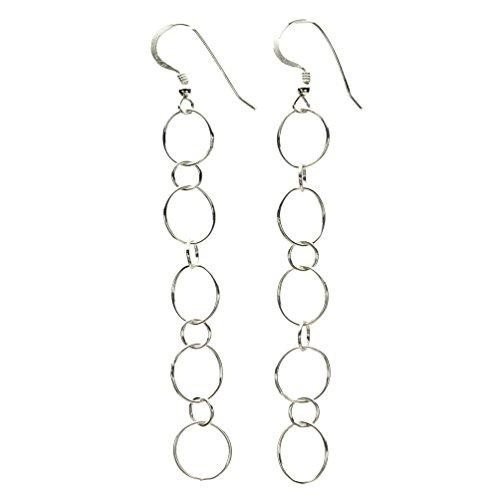 Sterling Silver Open Circle Links Long Earrings ()