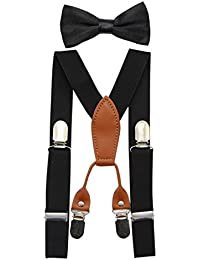 Toddler Kids 4 Clips Adjustable Suspenders and Matching...