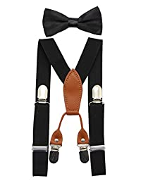 JAIFEI Toddler Kids 4 Clips Adjustable Suspenders and Matching Bow Tie Set (Black)