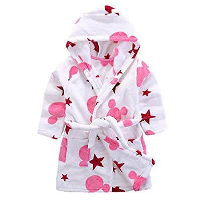 Zerowin Kids Robe Onesies Sleepwear Soft Flannel Hooded Bathrobe Toddler Kids Sleepwear for Baby Boys Girls