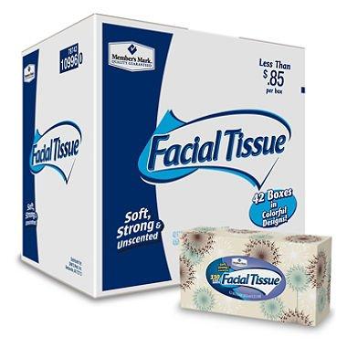 (Member's Mark 2-Ply Facial Tissue, 42 pk., 4,620 tissues (110 ct. per box) sm)