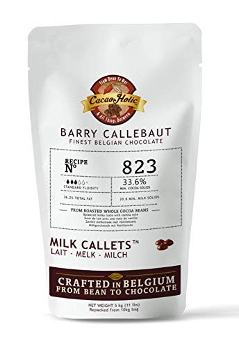5kg Barry Callebaut Milk Chocolate Callets | 33.6% Cocoa | Barry Callebaut Chocolate Chips 823NV-595 | Cacaoholic Resealable Stand Up Pouch -11 LB Net Weight ()