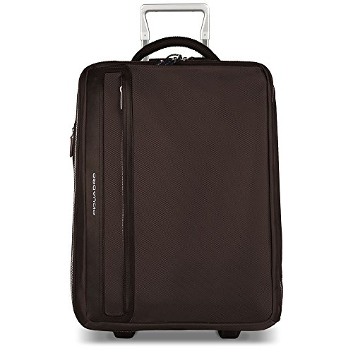 Piquadro Cabin Trolley with Double Computer and Ipadair/air2 Compartment and Side Handles, Dark Brown