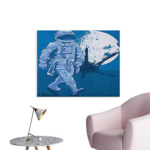 Anzhutwelve Astronaut Art Stickers Astronaut Proudly Walks Moon in Backdrop Walk on The Moon Space Adventure Poster Paper Night Blue White W36 xL24]()