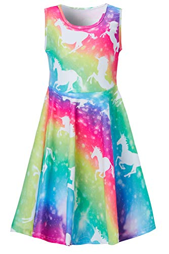 Funnycokid Girls Unicorn Dresses 3D Print Rainbow Kid Sleeveless Party Sundress ()