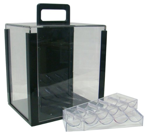 1000 Chip Clear Acrylic Poker Chip Carrier - Includes 10 Racks by Brybelly