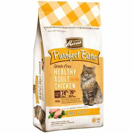Merrick Purrfect Bistro Grain Free Real Chicken Adult Dry Cat Food, 4 - Cats Alley Bowl