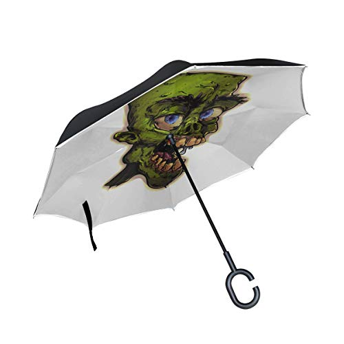 Scary Monster Zombie Cartoon Devil Double Layer Folding Anti Uv Protection Waterproof Windproof Straight Cars Golf Reverse Inverted Umbrella Stand With C-shaped Handle For Car Rain Outdoor