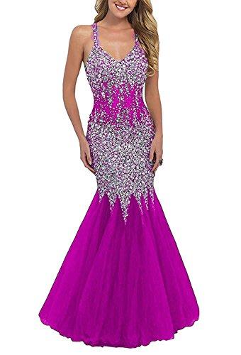 Mermaid Beaded Fanciest Dresses Fuchsia Prom Backless Women's Gowns Black 2017 Evening Long 5t1qWqBH