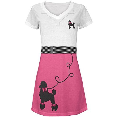 50's Poodle Skirt Pink Costume All Over Juniors Cover-Up Beach Dress - (Literary Inspired Costumes)