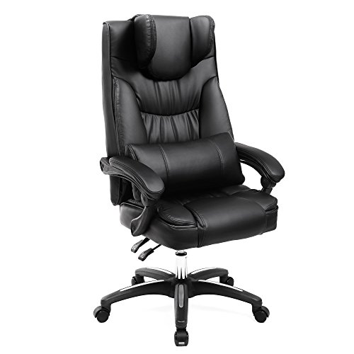 Design Executive Leather - SONGMICS Office Chair, Original Design Executive Swivel Chair PU Leather with Foldable Headrest, Adjustable Pillow, Black UOBG76B