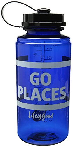 Life is good Adult Go Places Striped Water Bottle, Denim Blue, One Size
