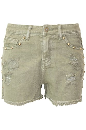 (Be Jealous Womens Ladies Denim Ripped High Waist Destroyed Studded Pockets Raw Edges Shorts)