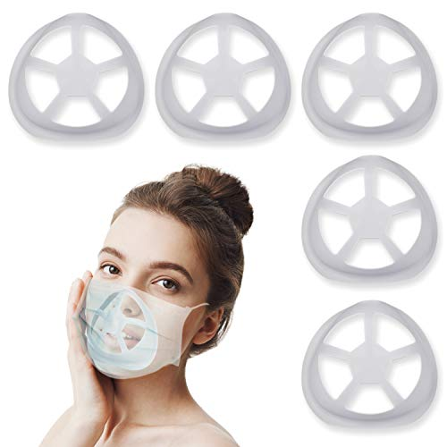 🥇 Silicone 3D Mask Bracket for Comfortable Mask Wearing by Creating More Space for Breathing Ideal Makeup Saver – 5Pack Light Gray