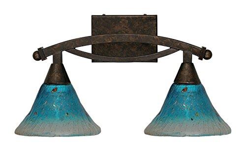 Toltec Lighting 172-BRZ-458 Bow 2 Light Bath Bar with 7″ Teal Crystal Glass, Bronze Finish