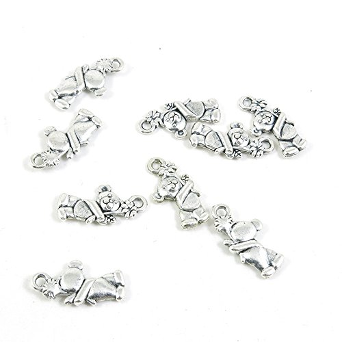 (80 Pieces Antique Silver Tone Jewelry Making Charms Pendant Findings Craft Supplies Bulk Lots Arts N8UK1 Teddy Bear Winnie)