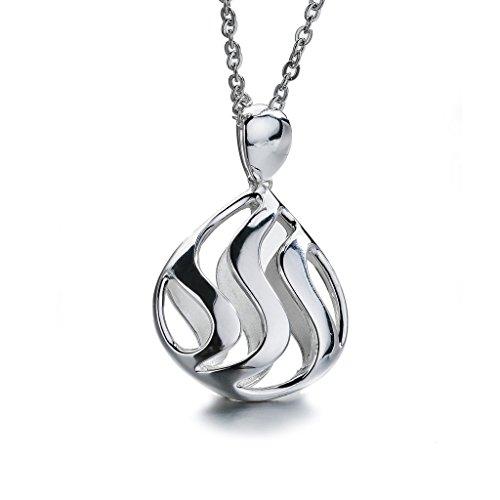 SILVERAGE Sterling Silver Fligree Wave Pendant Long Necklace, (Open Double Flower Pendant)