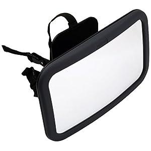 Venture gran angular asiento trasero espejo giratorio y función de inclinación (grande, negro)