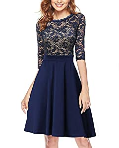 Mixfeer Women's Vintage Floral Lace Cocktail Party Swing Dress with 3/4 Sleeves