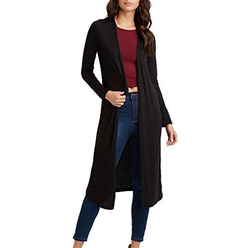 Women's Lightweight Long Sleeve Open Front Classic Knit Long Maxi Cardigan (Sheer Knit Sweater)