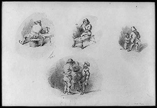 Photo: Peasants in Everyday Scenes,Drinking,Conversing,c1800