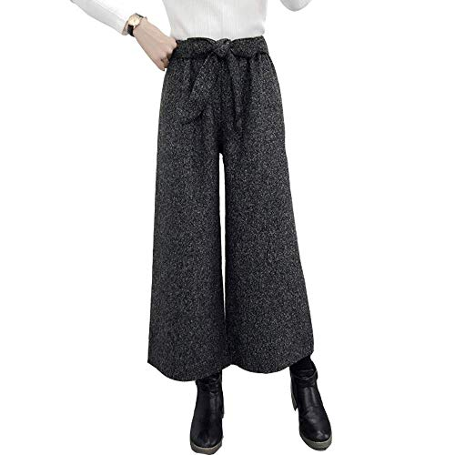 (EVEDESIGN Women's Wool Blend Belted Palazzo Pants Casual High Waist Flowy Wide Leg Pants)