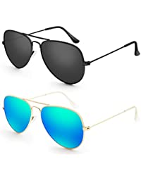 Sunglasses for Men Women Aviator Polarized Metal Mirror...