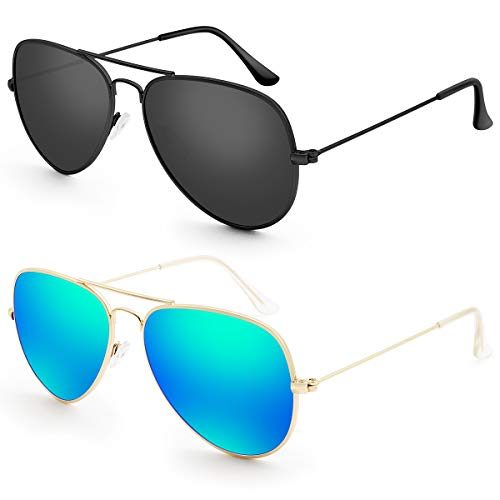 (Livhò G 2 Pack of Sunglasses for Men Women Aviator Polarized Metal Mirror UV 400 Lens Protection (Black Grey+Blue Green))