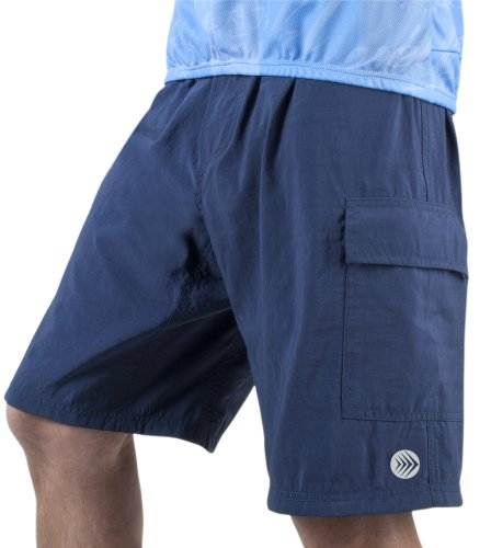 Men's ATD Cargo Short Baggy Padded Mountain Bike Cycling Shorts Navy LARGE