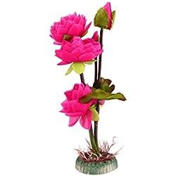 uxcell Red Plastic Lotus Flower Plant Aquarium Fishbowl Waterscape Decor Ornament