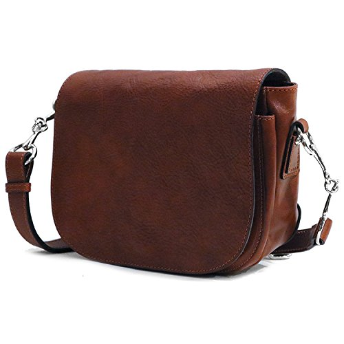 Floto Women's Roma Saddle Bag in Brown Italian Calfskin Leather - Handbag Shoulder Bag