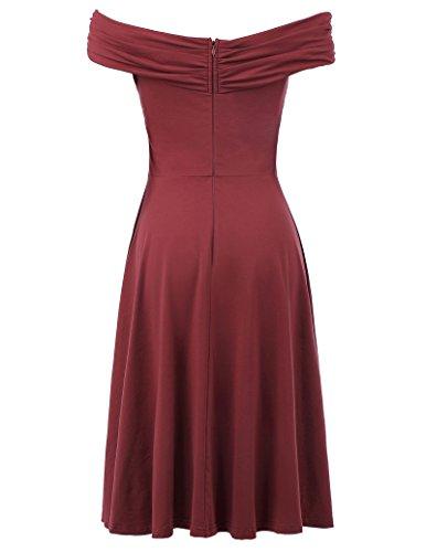 Descubiertos Plisado Vestido Rojo Ajustado Hombros Elegante Frontal Cruzado Oscuro Z7xOxwqap