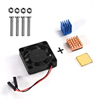 Raspberry Pi Kit, Aokin Raspberry Pi Cooling Fan 30x30x7mm Brushless CPU Cooling Fan and Raspberry Pi Heatsink Set 1 Aluminum + 2 Copper for Raspberry Pi 3 B+, Pi 3 B, Pi 2 B, RetroFlag NESPI Case