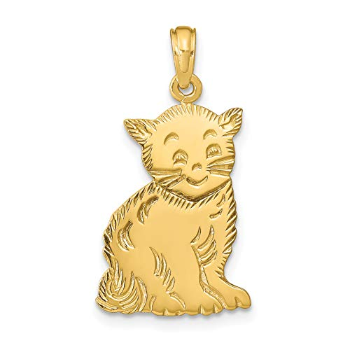 Mireval 14k Yellow Gold Polished Cat Charm (9 x 26 mm)