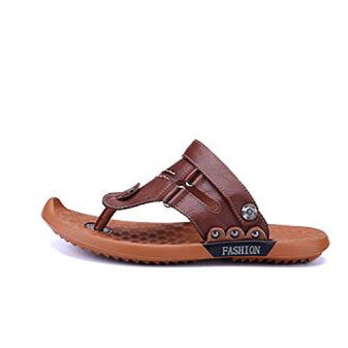 Abierto Cómodos Libre Ajustables snfgoij De Zapatos Aire del Cuero Para Dedo Hombre Sandalias Darkbrown Playa De Al Verano De del Zapatos Deportes Ocasionales Pie xwqFR4Pw