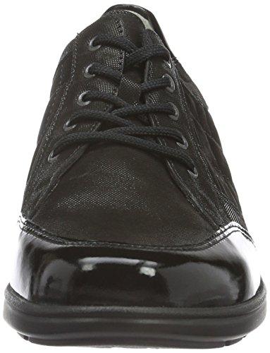 Chaussures Schwarz Lacets à Femme Haga soft Noir Waldläufer Nubuk Softlack Lizz Richelieu Schwarz qw5p7nnT