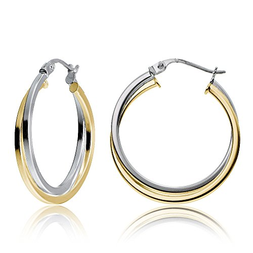 Hoops & Loops Sterling Silver Two-Tone Intertwining Square-Tube Polished Hoop Earrings, 25mm