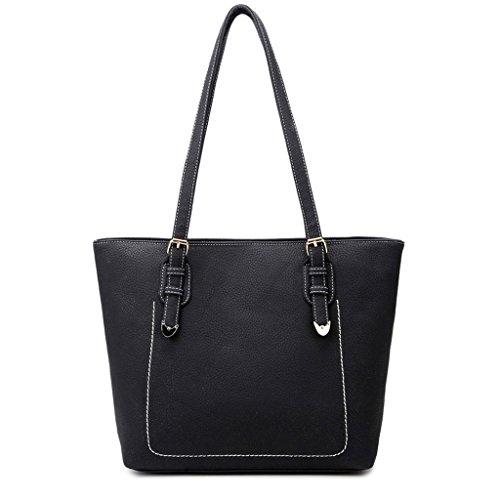 gran bolsa la Color Black femenino Bolso PU capacidad Bolso de la PU hombro de negro de de Black la de wZAPTq