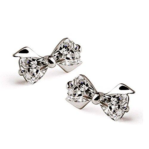 (Acxico Swiss Diamond Bowknot Stud Earrings)