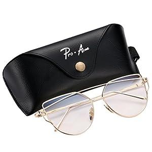 Pro Acme Fashion Metal Frame Cat Eye Sunglasses for Women Mirrored Flat Lens (Gold Frame/Clear Lens)