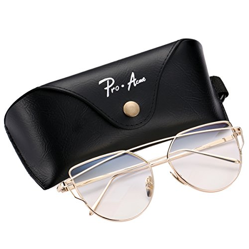 Pro Acme Fashion Metal Frame Cat Eye Sunglasses for Women Mirrored Flat Lens (Gold Frame/Clear - Trend Clear Sunglasses